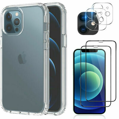 For iPhone 12 Pro Max Clear Case Cover-Screen Protector-Camera Lens Protector