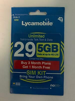 Lycamobile Preloaded Sim 29 x 3 - 1 Extra month Free 4 Months 5GB Per Month