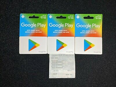 Discounted Google Play Gift Cards Brand New Reduced Price - 3 Cards 600 Value