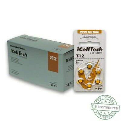 iCell Tech Size 312 Hearing Aid Batteries 60 cells 3 year shelf life USA