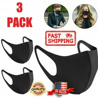 FAST SHIP 3-Pack Black Soft Cloth Fabric 3D Washable Face Mask Sports Reusable