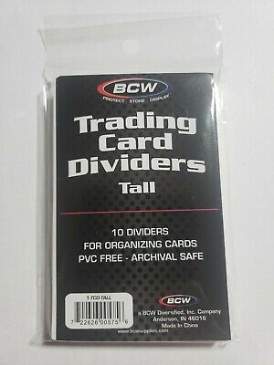 10 BCW TALL TRADING CARD DIVIDERS FOR STORAGE BOXES
