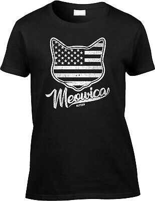 Meowica Fourth 4th of July Satire Parody Funny Patriotic Cat Humor Womens Tee
