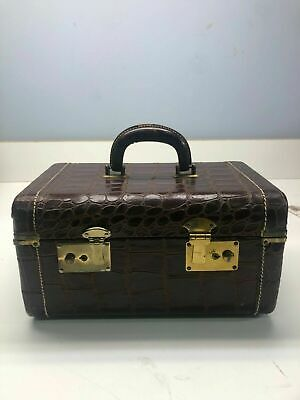 Vintage Crocodile Dark Brown Cosmetic Carrying Case With Latches Original