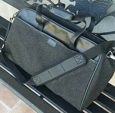 Vintage Hartmann Tweed and Leather Black and Gray Duffle Luggage Bag
