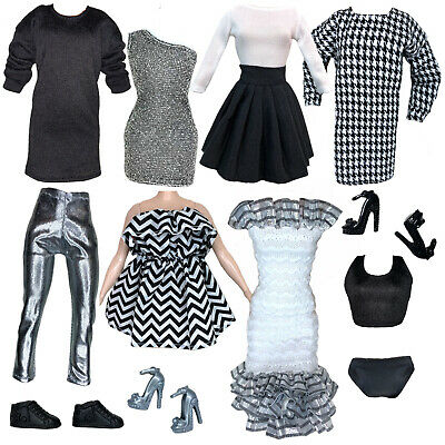 Eledoll Clothes Lot Lady Boss BLACK WHITE SILVER Fashion Pack For 11-5 Doll