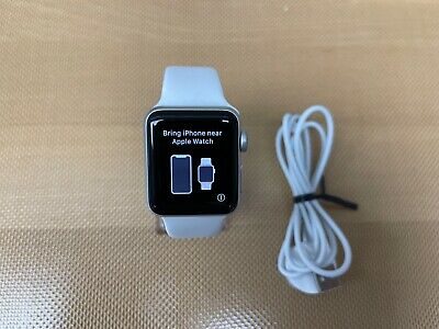 NEW Apple Watch Series 3 GPS 38mm Silver Aluminum Case with White Sport Band