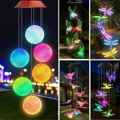 Solar Wind Chimes Lights LED Color Changing Hanging Dragonfly Ball Garden Lamp