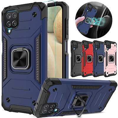 For Samsung Galaxy A12 Case Shockproof Ring Stand CoverGlass Screen Protector