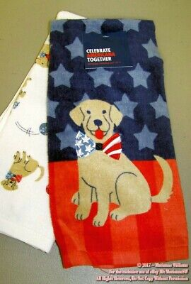 2 NEW FOURTH 4th OF JULY TOWELS PATRIOTIC DOGS GOLDEN RETRIEVER RED WHITE BLUE