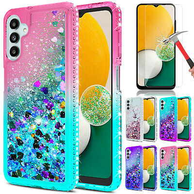 For Samsung Galaxy A12 Case Liquid Bling Quicksand CoverGlass Screen Protector