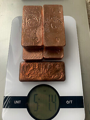 5lbs hand poured copper ingots 5lbs of bars- Bullion