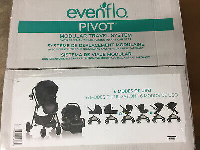 Evenflo Pivot Modular Travel System with SafeMax Infant Car Seat Casual Gray