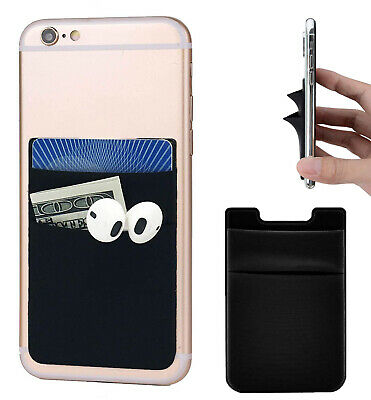 Two Pockets Cell Phone Credit Card Holder Wallet for Key Adhesive Universal