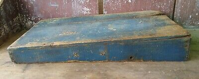 Early Primitive Wooden Seed Sorter Shaker Original Old Soldier Blue Paint