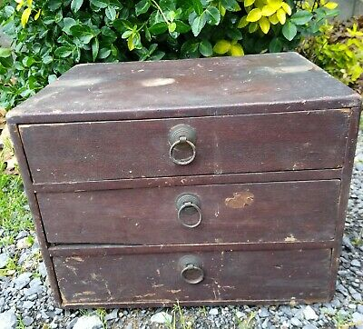 Early Primitive Wood Set Of 3 Drawers Apothecary Original Old Red Paint Dovetail