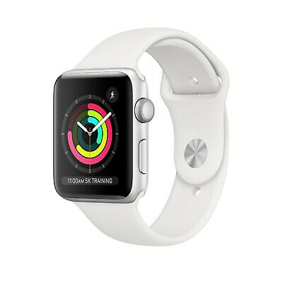 NEW Apple Watch Series 3 GPS 38mm Silver Aluminum Case - White Sport Band