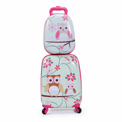 Kids Suitcase- 2 Pieces Travel Luggage 16 Tall Hard Side Pink for School Girls