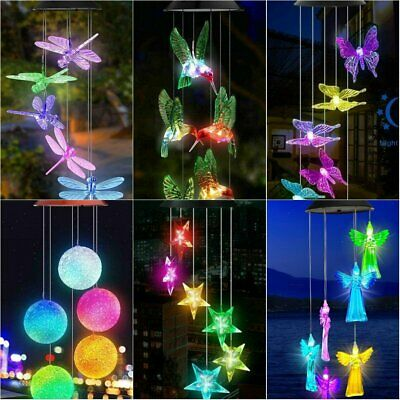Solar Wind Chimes Lights LED Color Changing Hanging Hummingbird Ball Butterfly