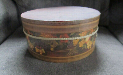 Round Hat Box Tuscany Grapes Fruit Floral Theme 12 X 6 Brown Gold Purple Red