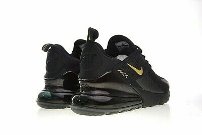 Nike Air Max 270 Black Gold Athletic Shoes