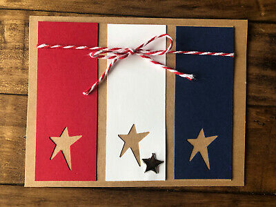 Handmade Card Fourth Of July Stars Red White Blue