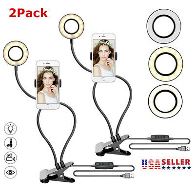 2Pack LED Ring Light Tripod Stand - Phone Mount Dimmable For Video Stream Makeup