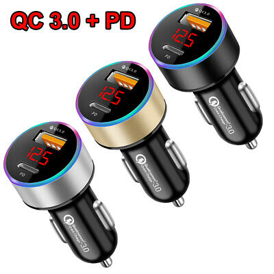 Dual USB Car Charger Adapter 3-0 - PD Fast Charging For iPhone Samsung Universal