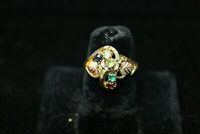 Vintage 10K Yellow Gold Ring with 2 Rose Gold Leaves and 5 Gemstones