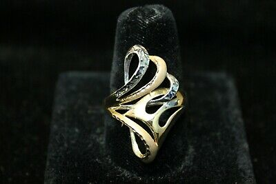 14K Tri- Color Gold Yellow White - Rose Swirl Ring