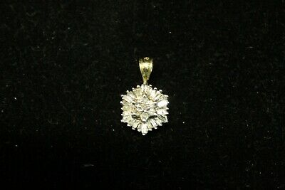 10K Yellow Gold White and Yellow Gold Charm with Round and Baguette Cut Diamonds
