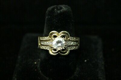 Two Rings for The Price of One 14K CZ Engagement Ring with Wraparound Ring