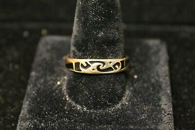 Vintage 10K Yellow Gold Band with Native American Wave Pattern Enamel Design