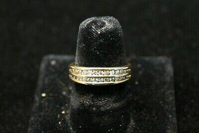 10K Yellow Gold Band with Double Row Channel Set Diamonds -48 CTW