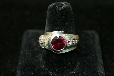 Vintage Danso 14K Yellow Ring with 1-5 Carat Ruby and 2 Diamond Accents