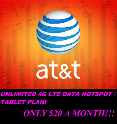 UNLIMITED AT-T 4G - 5G HOTSPOT Data - SIM Card Package - Only 20 a Month