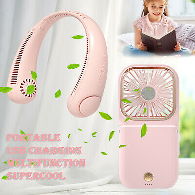 USB Rechargeable Portable Lazy Neckband Hanging Sport Mini Fan Dual Cooling