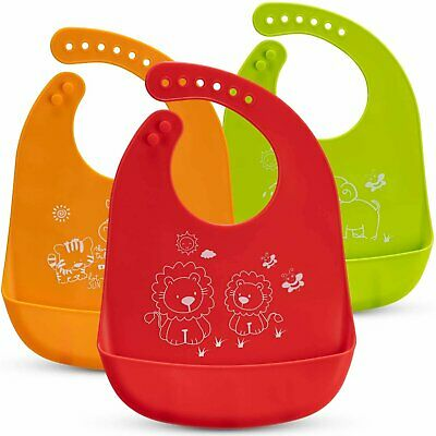 Baby Bibs – 3-Pack Silicone Weaning Bibs – Machine Washable Silicone Bibs for-