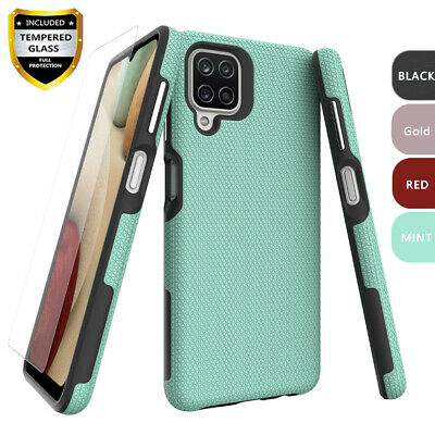 For Samsung Galaxy A12 Case Shockproof TPU Defender Cover-Glass Screen Protector