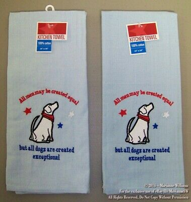 2 NEW FOURTH 4th OF JULY HAND TOWELS PATRIOTIC AMERICANA  DOGS ARE CREATED EQUAL