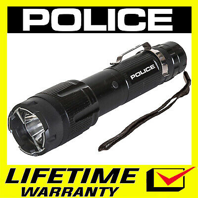 POLICE Stun Gun 1159 650 BV Heavy Duty Metal Rechargeable With LED Flashlight