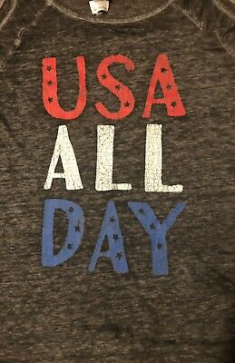 USA All Day Cold Shoulder - Fourth of July Labor Day Memorial Day Size Medium