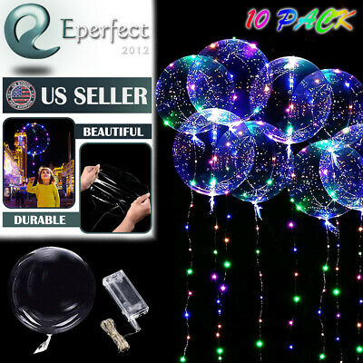 10 Pack LED Light Up BoBo Balloons 20 Party Birthday Transparent Bubble Balloon