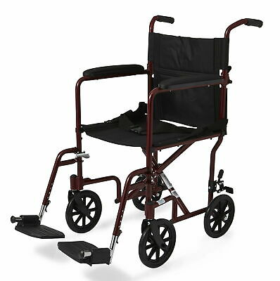 Medline Aluminum Transport Chair with 8 Wheels Red - MDS808200ARE