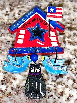 WOOD Fourth of July HOME OF THE BRAVE PIN