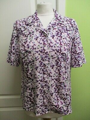 WOMENS LILAC/PURPLE SILKY BLOUSE SIZE 12 SHORT SLEEVES BY HONOR MILLBURN