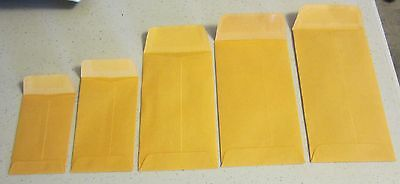 100 SMALL KRAFT COIN CHANGE ENVELOPES WITH GUMMED FLAP SEED JEWELRY STAMPS PARTS