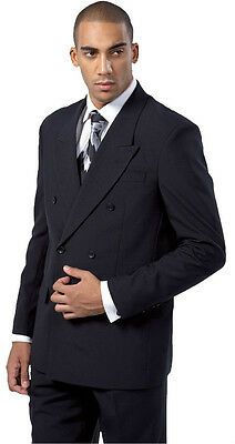 Mens High Quality Double Breasted Suit Jacket-pants Black White 38R58L
