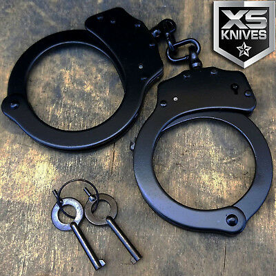 Police Handcuffs BLACK STEEL Double Lock REAL Hand Cuffs wKeys Authentic   JC02