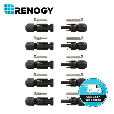 Renogy 5 Pairs of MC4 Female and Male Solar Panel Cable Connectors